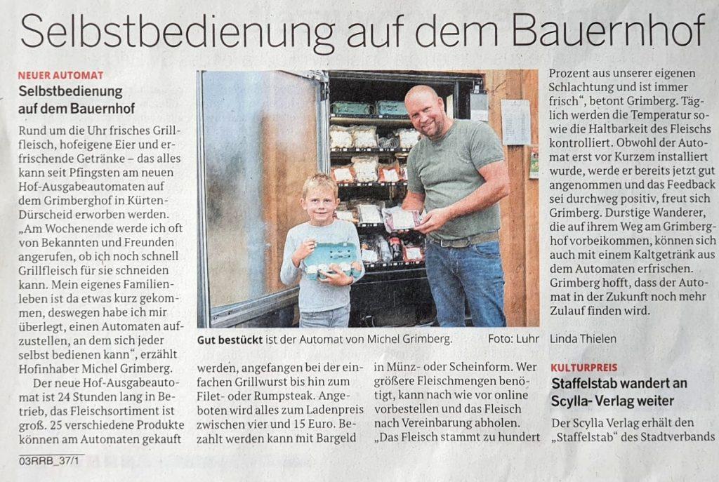 Zeitungsartikel zum Warenausgabeautomaten am Grimberghof